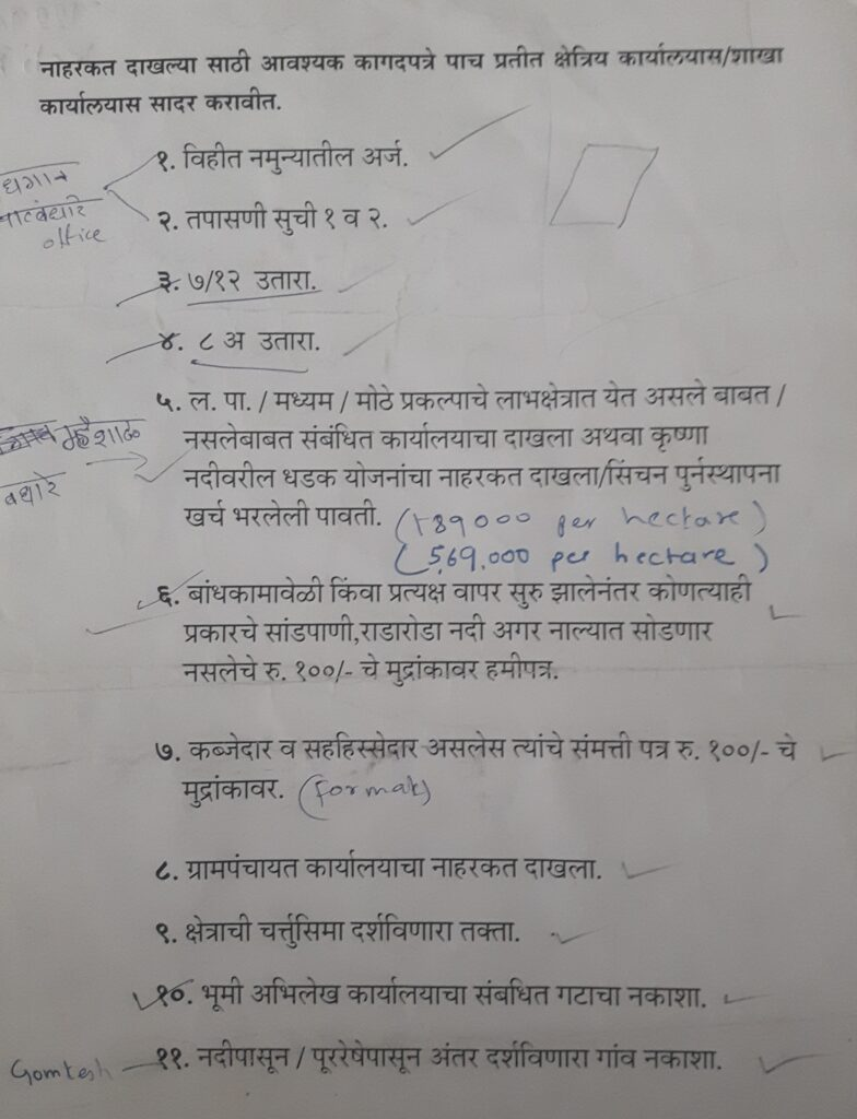 Documents required by irrigation department to grant a No Objection Certificate
