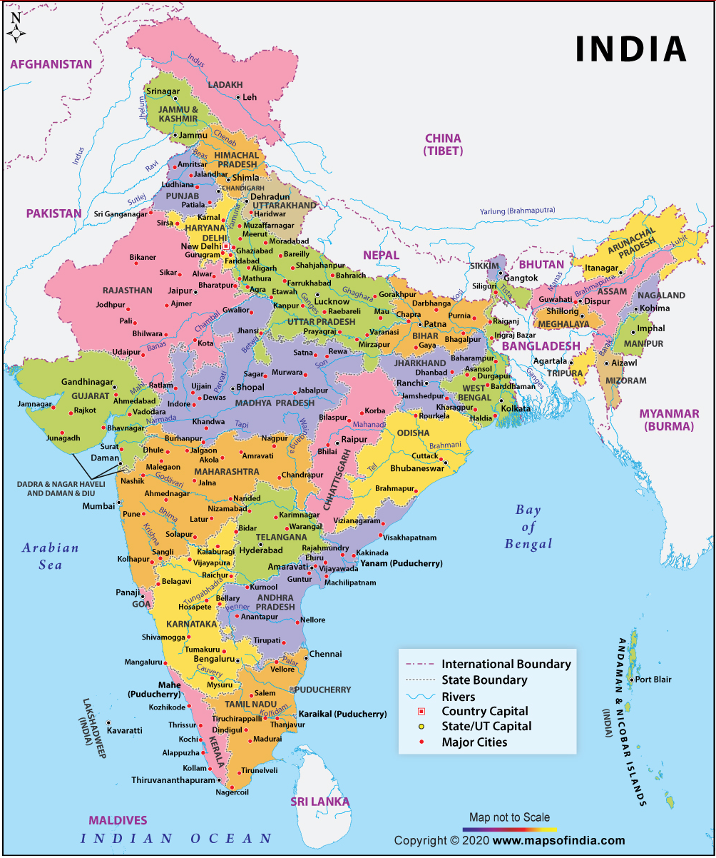 A map of India showing major cities and rivers.